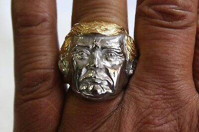 President - Donald Trump Gold Hair Ring, Stainless Steel, Size 7 thru 15