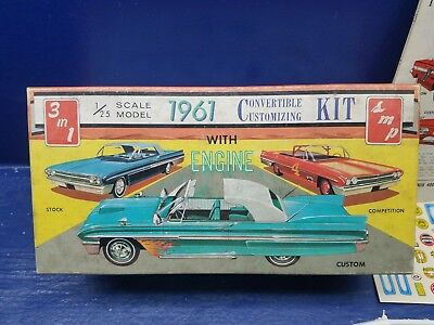 Vintage AMT 1961 Ford Convertible 3 in 1 Customizing Kit 1/25 Scale Boxed