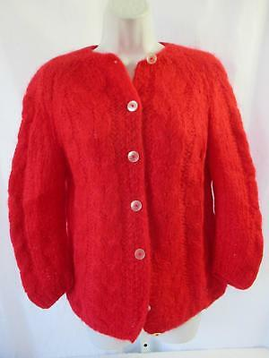 Vintage 1960s Mohair Sweater Sz S/M Red Cable Knit Montgomery Ward Carol Brent