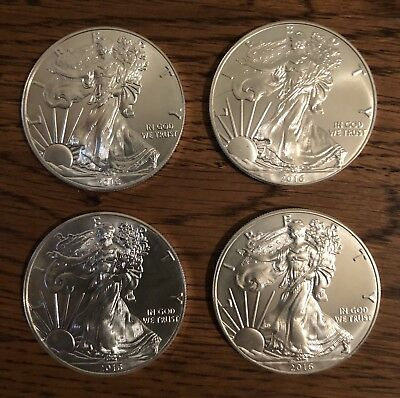 (4) 1 Oz 2016 American Silver Eagles .999 Fine Silver 4 Oz Total