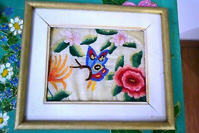 Vintage Hand Embroidered Linen Picture Flowers and a Butterfly