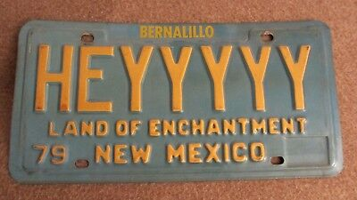 New Mexico Rare Vanity License Plate HEYYYYY 1979 Land of Enchantment Route 66