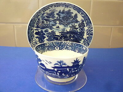 English Porcelain Worcester Chinoiserie Tea Bowl And Saucer C1780