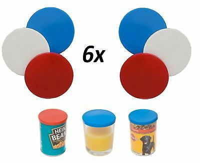6x Tin Can Covers Reusable Plastic Lids Fits Most Can Like Beans Soup Pet Food U