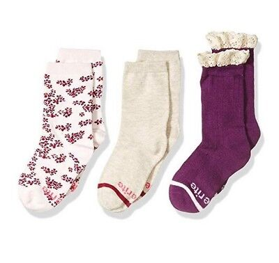 LOT OF 3 PAIR Stride Rite Girls' Floral Solid Color Crew Socks - SHOE 10-13