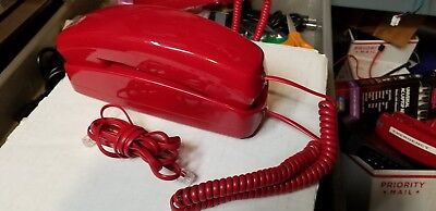 Red Corded Trimline Slimline Phone Desk Wall Red Cord Ge5303 Wall Mountable