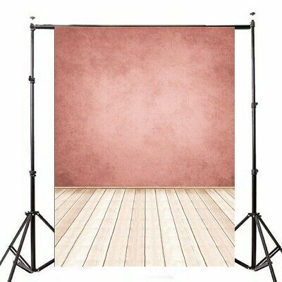 [NEW] 5x7FT Pink Wall Wooden Floor Photo Studio Photography Backdrop Background