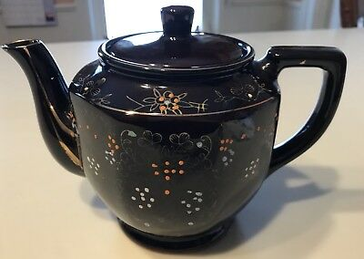 "JAPAN REDWARE BROWN BETTY TEAPOT 6.5"" COLORFUL MORIAGE DESIGN ca. 1960s  NICE!"