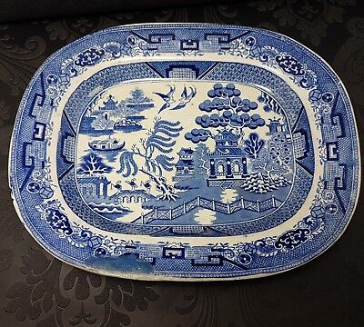 Antique Ironstone Willow Meat Plate Blue and white Dish Transferware Chines bowl