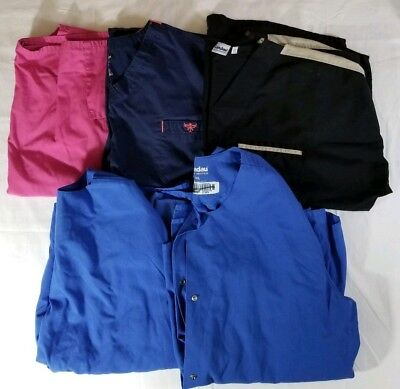 Lot of Adult Scrub Tops Pre-owned Wear or Resell Tops Sizes XXL - 3XL