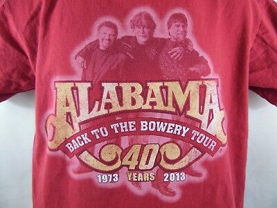 Alabama Back To The Bowery Tour 40 Years 1973-2013 T-Shirt Size M