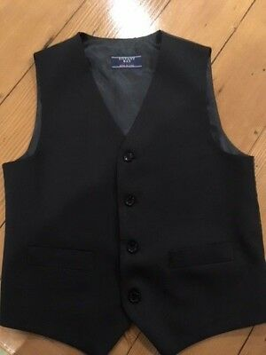 Waistcoat Boys size 10 Black formal wedding event special occasion buttons lined