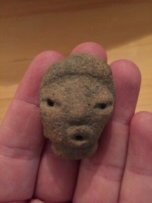 Ancient Effigy Fertility Head 800 AD South America Pre-Colombian Pottery