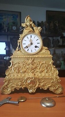 Antique French, 8 day, time and strike spring brass movement with silk thread.