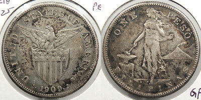 PHILIPPINES: US Administration 1909-S Peso #WC74923