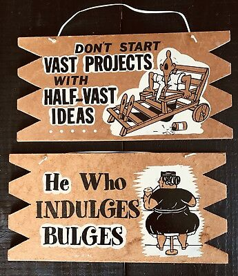 Midcentury Pair Wood Wall Plaques Funny Half-assed Ideas Pun MCM Retro