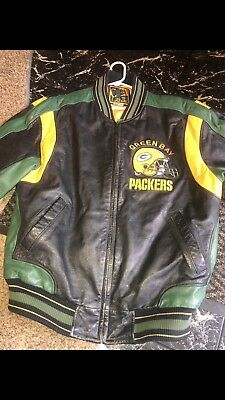 Vintage Green Bay Packers Carl Banks Leather Jacket Size Large Very Good  Shape 7fec3b646