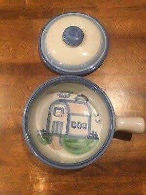 M A HADLEY COVERED CASSEROLE COUNTRY HOUSE Church LIDDED  HANDPAINTED POTTERY