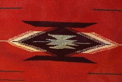 VINTAGE 30s CHIMAYO Native RUG Style INDIAN Blanket WOVEN OLD Antique 56x18