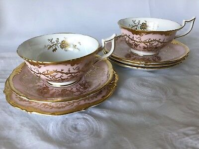 Coalport King's Plate pink & gold 2 cups, 4 saucers, 1 small plate