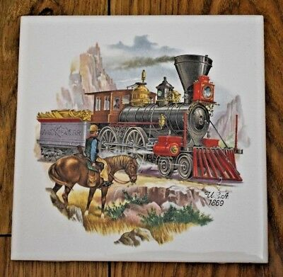 "Vintage Tile ~ COWBOY & STEAM TRAINS ~ Pilkington Tiles ~ 6""x6"""