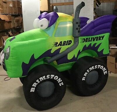 8ft Gemmy Airblown Inflatable Halloween Animated Green Monster Truck Prototype