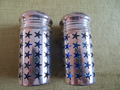 Salt and Pepper shakers - Stars - silver plated - blue glass
