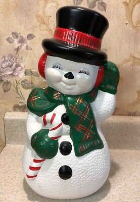 """Vintage Christmas 1980's Ceramic Hand Painted 13"""" Snowman W/ Candy Cane"""