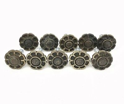 Lot of 10 Vintage 70s Hardware Antique Brass Daisy Flower Cabinet Pull Knobs