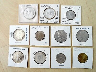 Lot of 11 South Vietnam Coins  1953,1960, 1963, 1968, 1974...UNC or AU
