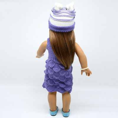 """Purple Winter Sweater Skirt Sets for 18"""" American Girl Doll Clothes Purple"""