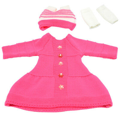 """Rose Red Winter Sweater Skirt Hat Scoks Fits for 18"""" American Girl Clothes"""