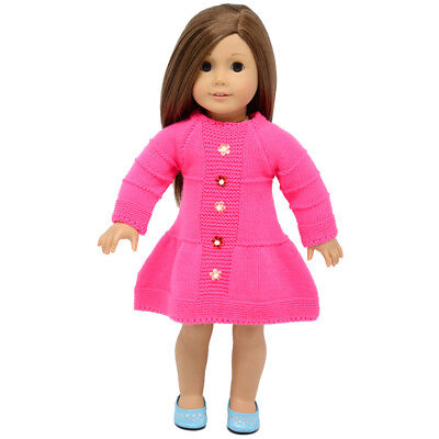 """Rose Red Winter Sweater Skirt for 18"""" American Girl Doll Clothes Accessory"""