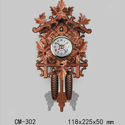 Retro Vintage Style Wall Clock Hanging Handcraft Wooden Cuckoo Clock M