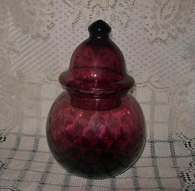 VINTAGE SANGRIA/PLUM-tone GLASS LOLLY APOTHECARY VANITY JAR with lid 18.5cm