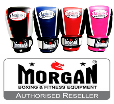 Morgan Classic Boxing Gloves Bag Mitts RED BLUE PINK BLACK Kids Adults NEW