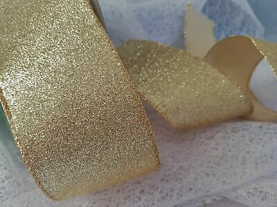 63MM Luxury Wire Edged GLITTER Sparkly GOLDEN/ SILVER Ribbon Christmas Wedding