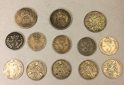 Lot Of Old Silver Coins King George Great Britain 6 & 3 Pence - 13 Coins UK 1902