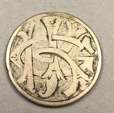 1887 Liberty Racketeer Nickel - Carved Love Token - Gold Guilded