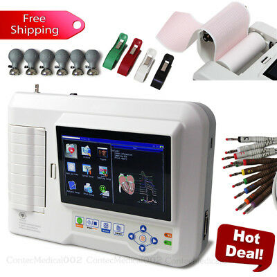 Touch 6 Channel ECG Machine 12 Lead Electrocardiograph EKG Cardiac Monitor + CD