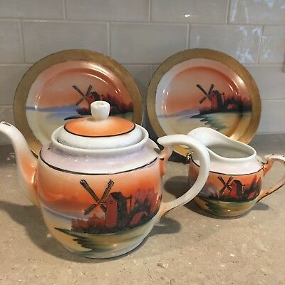 Antique Hand-painted Japanese Lusterware Windmill Teapot, Creamer, 2 Plates!