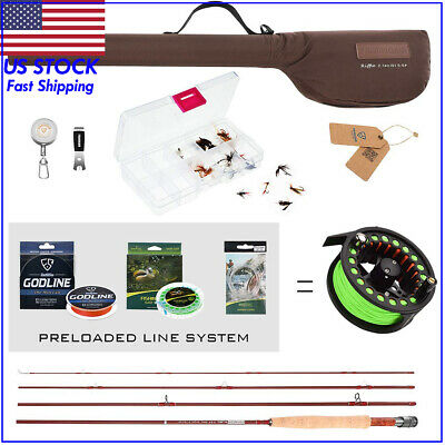 FISHINGSIR RIFFLE Fly Fishing Rod & Reel Combo Complete Starter Package 3/4, 5/6