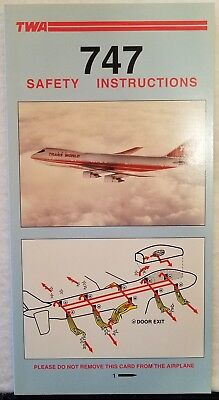 Trans World Airlines Twa - Safety Card - 747 Pn4954 7-96