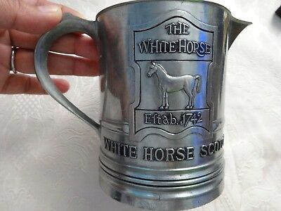 "VTG Pewter Pitcher Beer Mug ""White Horse Scotch"" - Designed In Glasgow, Scotland"