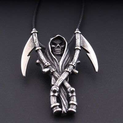 Inox Men's Death Skull Double Scythe Grim Reaper Pendant Necklace Goth At Punk