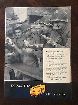 Vintage 1945 original color print ad Kodak Verichrome WWII
