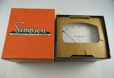 Vintage 1950's Simpson Electric A.c. Amperes Gauge W/box Great Display Piece