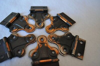 Six (6) Vintage NOS Copper Flashed Cabinet Hinges 1930s -1940s (japanned)
