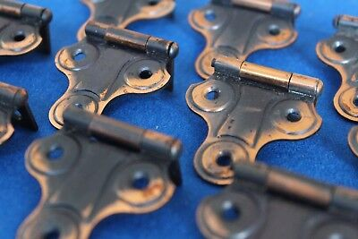 Pairs--Vintage NOS Copper Flashed Cabinet Hinges 1930s -1940s (japanned)