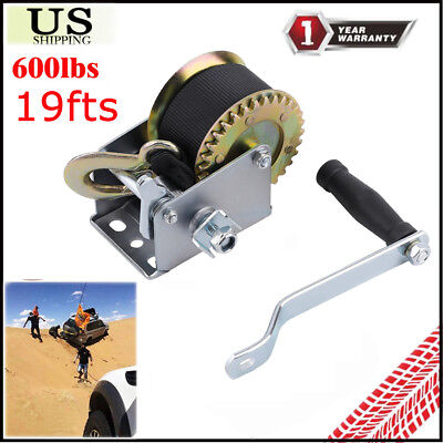 600lbs Dual Gear Hand Winch Hand Crank Manual Boat ATV RV Trailer 19ft Cable US